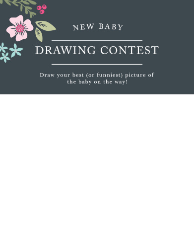 Give your guests the opportunity to provide a snapshot of your newborn in hilarious or heartfelt sketches with our Garden Flowers Baby Drawing Contest! Use the gorgeous, colorful florals to catch their attention and the neatly-written typography to guide them through the game for a guaranteed good time.