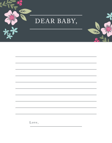Collect the sweet sentiments and tender thoughts of your friends and family with our stunning Garden Flowers Letter to Baby. Featuring a stunning ensemble of colorful florals, a high contrast background, and a classic print, your guests can use these beautiful pages to introduce themselves to the newest member of your family- before they've even been born.