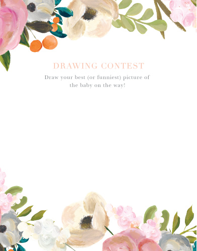 Give your guests the opportunity to provide a snapshot of your newborn in hilarious or heartfelt sketches with our Gouache Blooms Baby Drawing Contest!