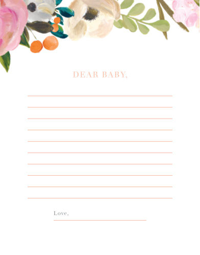 Collect the sweet sentiments and tender thoughts of your friends and family with our stunning Gouache Blooms Letter to Baby.