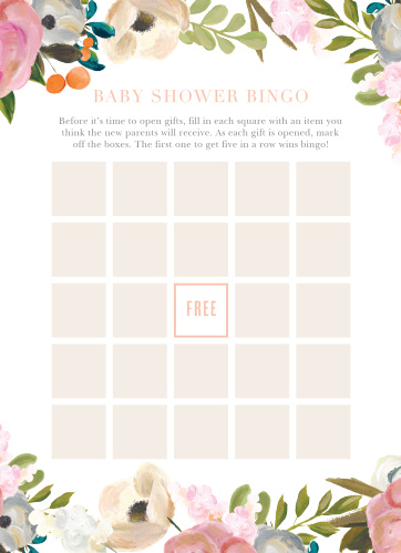 Keep the magic and surprise alive with our Gouache Blooms Baby Shower Bingo.