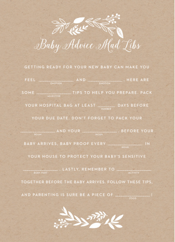 Our Petit Jardin Baby Shower Mad Libs is a perfect fit for your elegant baby shower.