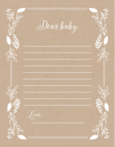 Our Petit Jardin Letter to Baby is a perfect fit for your elegant baby shower.