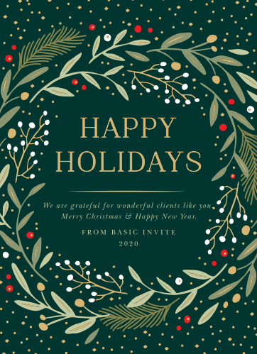 gold wreath corporate holiday cards - Corporate Holiday Cards