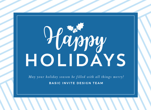 Detail your holiday sentiments and well-wishes with our stunning Holiday Stripes Corporate Holiday Cards. With an elegantly striped background reminiscent of gift-wrapping and a bright blue emblem bearing every word you want to share, these cards are a gorgeous way to share your appreciation with your customers and employees.