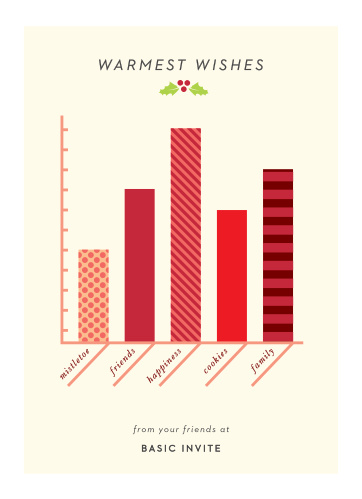 Sharp visuals describe the most important parts of the holidays on our Holiday Infographic Corporate Holiday Cards. Bright red bars rise and fall across the tan paper, their patterns beautifully reminiscent of gift-wrapping, while a neat print in italics spells out all of your well-wishes, just below a sprig of mistletoe.