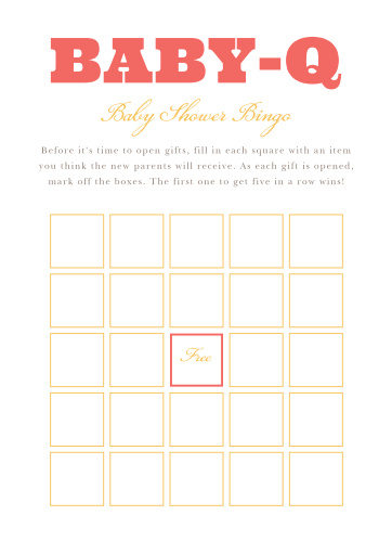 Our illustrated Cozy Cookout Baby Shower Bingo is a perfect game for a coed baby shower BBQ.