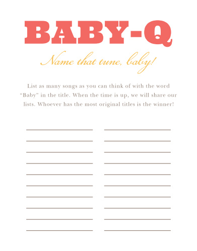 Our illustrated Cozy Cookout Baby Song Contest is a perfect game for a coed baby shower BBQ.