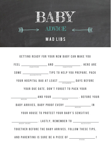 Have your friends and family fill in the blanks for a hilarious new take on baby preparations with our Baby Chalk Baby Shower Mad Libs.