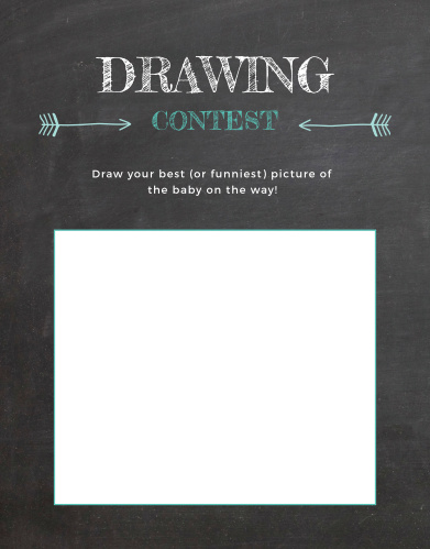 Give your guests the opportunity to draw a snapshot of your newborn in hilarious or heartfelt sketches with our Baby Chalk Baby Drawing Contest game.