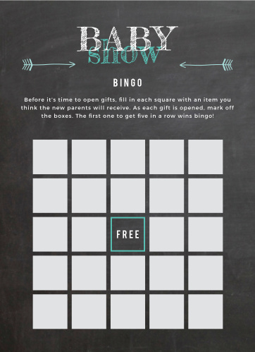 Our Baby Chalk Baby Shower Bingo will have your guests guess what's in each gift, then hand out little rewards in turn!