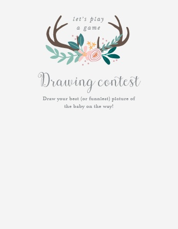 Give your guests the opportunity to provide a snapshot of your newborn in hilarious or heartfelt sketches with our Rustic Bouquet Baby Drawing Contest!