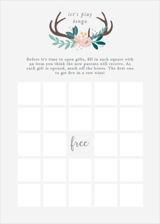 Keep the magic and surprise alive with our Rustic Bouquet Baby Shower Bingo.