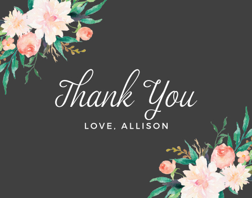 Lovely Blossoms Baby & Bridal Thank You Cards turn your intangible appreciation into tangible joy and warmth. With beautiful florals decorating the corners around your message- written in its own lovely combination of script and type- these cards help you say everything you need to.