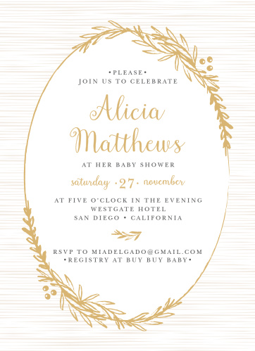 Frame your beautiful invitation in a delicately foiled wreath with the Golden Laurel Baby Shower Invitations.