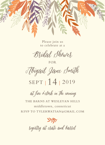 Our Autumn Harvest Bridal Shower Invitations are perfect for gathering your friends and family together to celebrate the bride!