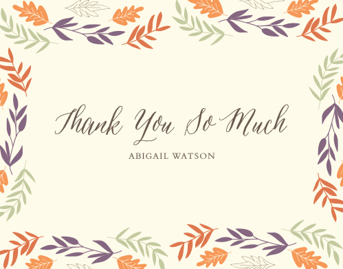 Our Autumn Harvest Baby & Bridal Thank You Cards feature a border of colorful, fall foliage.