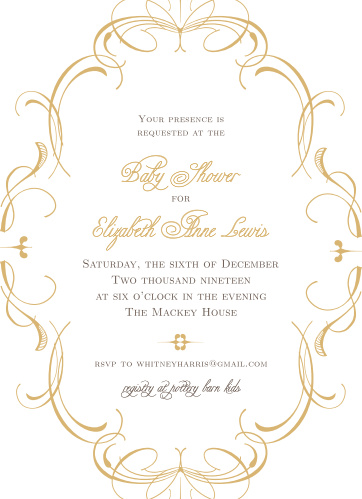 Enjoy the company of your friends and family when you use our Charming Flourish Baby Shower Invitations to invite them.