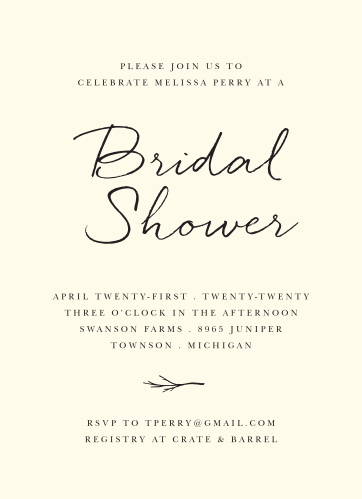 Winter bridal shower invitations match your color style free elegant twig bridal shower invitations filmwisefo