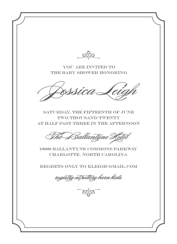 Enjoy the company of your friends and family when you use our Scripted Borders Baby Shower Invitations to invite them.