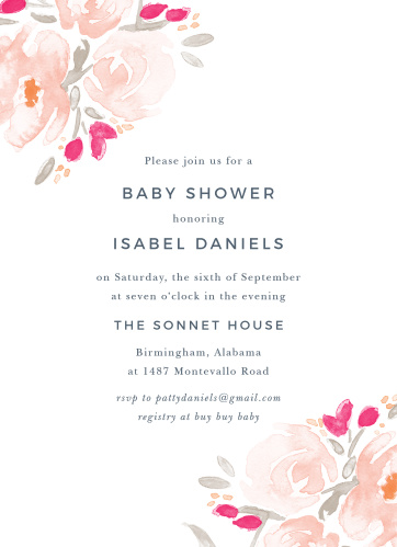 Watercolor Florals Baby Shower Invitations