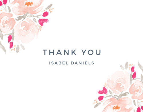 Thank all your supporters with our gorgeous Watercolor Florals Baby & Bridal Thank You Cards.