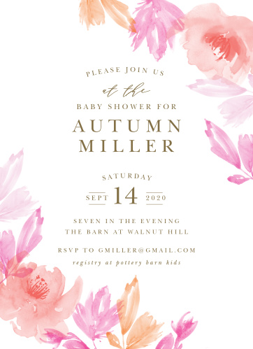 Our gorgeous Airbrushed Rose Baby Shower Invitations are the perfect invites for gathering your friends and family together to celebrate your newest family member!