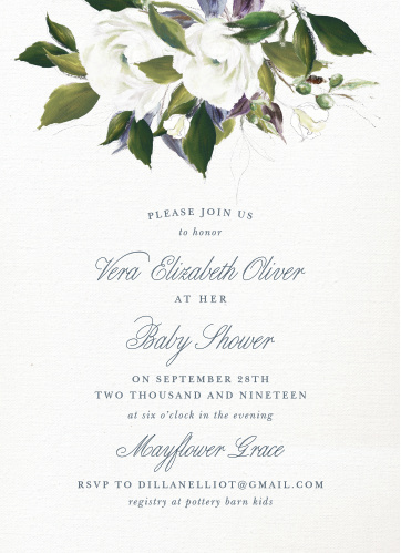 The Blooming Elegance Baby Shower Invitations are a vintage marvel, with a canvas background topped with painted blooms and elegant script.