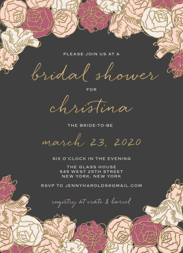Stunning, multi-colored rose blooms with gold foiled accents adorn the edges of the Shining Blooms Bridal Shower Invitations.