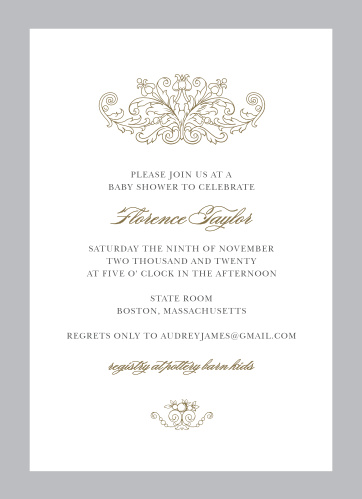 Our luxurious Simple Damask Baby Shower Invitations feature ornate embellishments at the top and the bottom of the design in addition to a bold colored border.