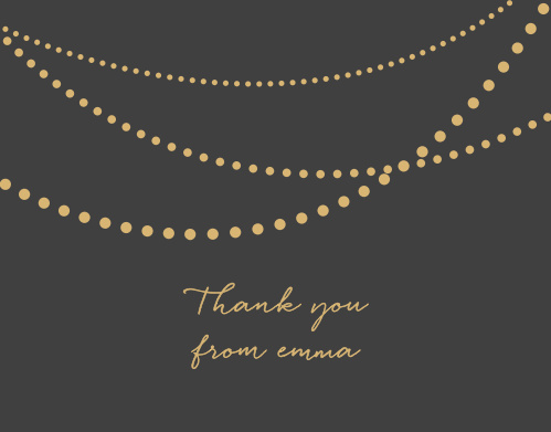 Golden Pearls Baby & Bridal Thank You Cards turn your appreciation into something your loved ones can hold in their hands. Three strings of gorgeous gold-foil pearls decorate the top of the card, followed by a beautiful calligraphy spelling out your gratitude- ensuring that these cards are absolutely unforgettable.