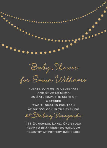 With a string of shining pearls decorating the top of our Golden Pearls Baby Shower Invitations, you can be sure that they immediately catch your guests' eyes. Customize the flowing scripts and neat prints below to include all of your event's details, then send them out to the people you cherish most!