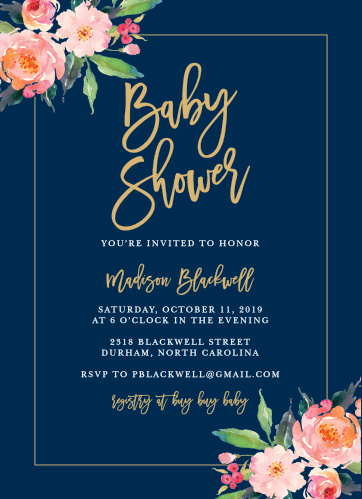 Flowered Frame Baby Shower Invitations provide a stunning relief for your invitational text. Bright floral images decorate opposing corners, forming a diagonal cradle for the golden calligraphy and white print spelling out the details- and guaranteeing a beautiful style for your beautiful day.