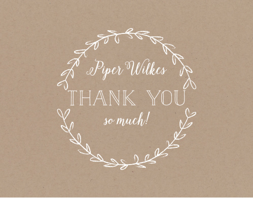Simple laurels frame your text on the Rustic Laurel Baby & Bridal Thank You Cards.