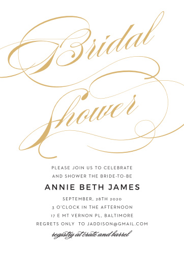 Luxury and refinement come together for the Shining Simplicity Bridal Shower Invitations.