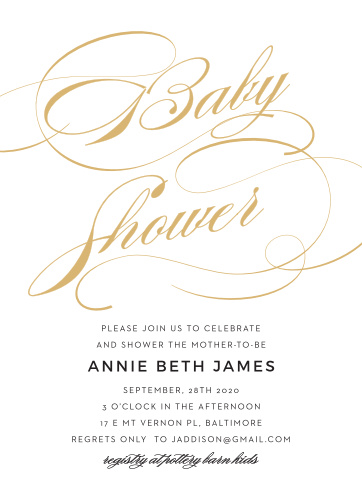 Luxury and refinement come together for the Shining Simplicity Baby Shower Invitations.