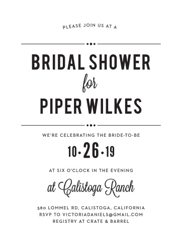 Invite your friends and family to the show of their life with our gorgeous Printed Playbill Bridal Shower Invitations. Bold prints and subtle calligraphies fill the page, spelling out every detail of your day in words as easy to read as they are to love- and guaranteeing that you spend the day celebrating with the people you care about most.