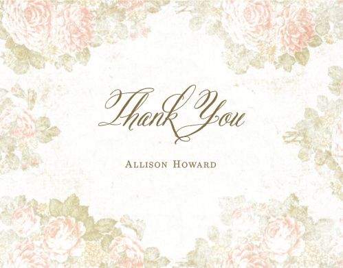 Our Stained Florals Baby & Bridal Thank You Cards have an antique look that your guests will love.