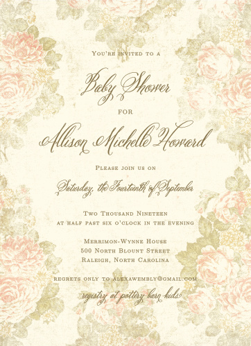 Stained Florals Baby Shower Invitations have an antique look that your future guests will love.