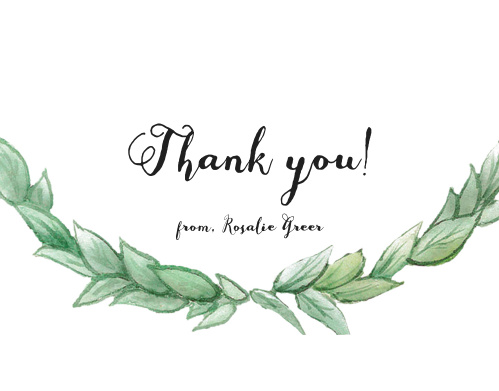 Thank all your supporters with our gorgeous Laurel Love Baby & Bridal Thank You Cards.