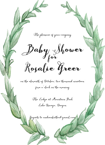 Enjoy the company of your friends and family when you use our Laurel Love Baby Shower Invitations to invite them.