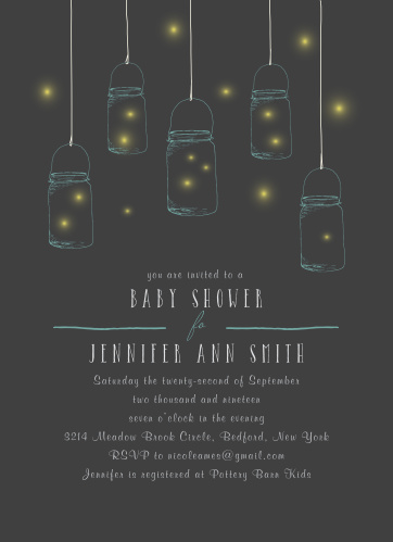 Collect loved ones for your celebration like fireflies in a jar using our Firefly Night Baby Shower Invitations!