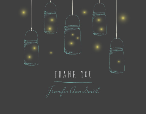 Firefly Night Baby & Bridal Thank You Cards offer a gorgeous way to share your appreciation with your friends and family. Fireflies glow yellow within the light blue jars holding them, while a combination of blue script and white print spell out your heartfelt message.