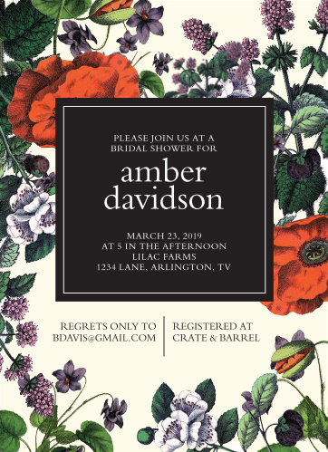 Celebrate this exciting new stage of life with the people closest to you using our Classic Botanical Bridal Shower Invitations! Beautiful floral illustrations cover the cream background of the card, drawing your guests' attention in, before providing all of the details they need to know in a high-contrast center.
