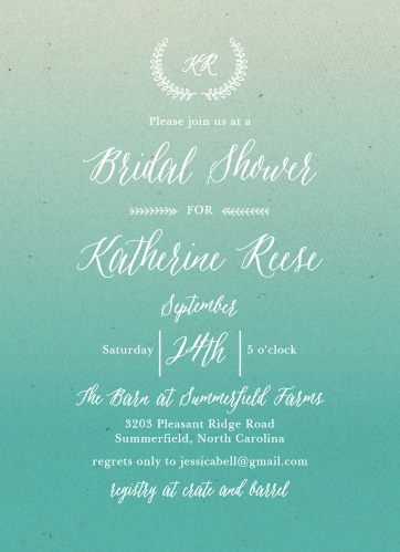 Enjoy the company of your friends and family when you use our Subtle Ombre Bridal Shower Invitations to invite them.