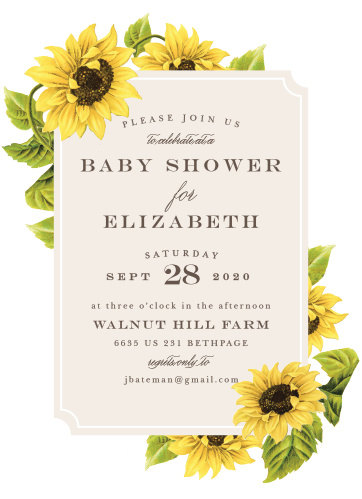 Enjoy the company of your friends and family when you use our Sunflower Field Baby Shower Invitations to invite them.