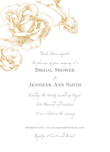 Watch your guest list bloom like the gorgeous, gold-foil rose on the cover of our Sketched Rose Bridal Shower Invitations. Spell out the details of your event with a duo of typefaces- one of them an elegant, handwritten script, and the other a subtle print- guaranteeing that these cards are as easy to read as they are to love.