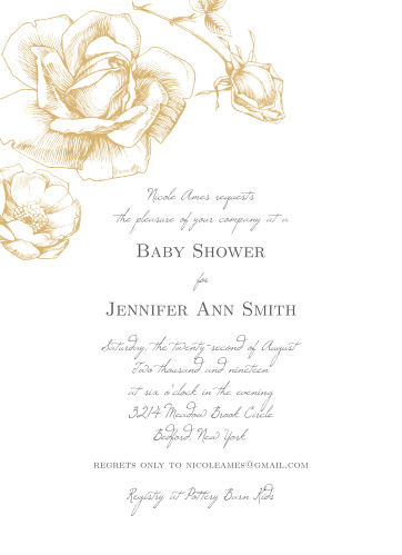 Watch your guest list bloom like the gorgeous, gold-foil rose on the cover of our Sketched Rose Baby Shower Invitations. Spell out the details of your event with a duo of typefaces- one of them an elegant, handwritten script, and the other a subtle print- guaranteeing that these cards are as easy to read as they are to love.