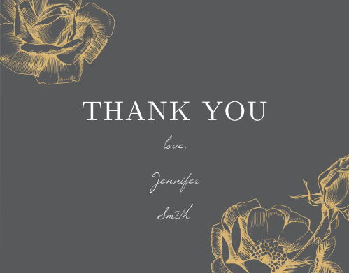 A gorgeous trio of gold-foil roses decorates the front of our Sketched Rose Baby & Bridal Thank You Cards. Spell out your message of gratitude in a mix of elegant print and subtle script, ensuring that your guests have a fantastic last peek at the style of your celebration.
