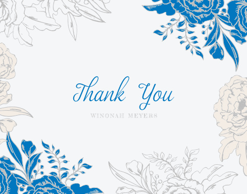 Make sure your guests know how much you appreciate them using the Blue Contrast Baby & Bridal Thank You Cards.